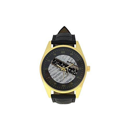 Men's Golden Leather Strap Watch Clarinet Pattern -