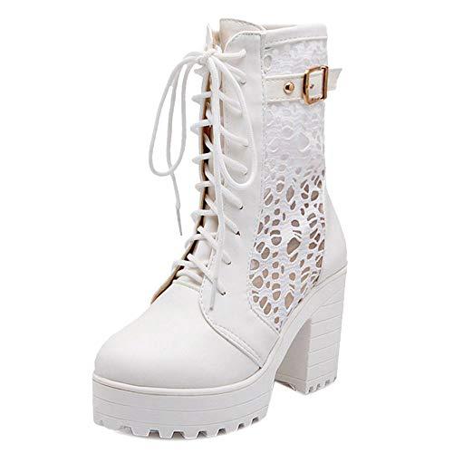 Alti Pizzo RAZAMAZA Cosplay Bianco Scarpe Tacco Blocco Donna Boots Dolce Stivali tSHwaA