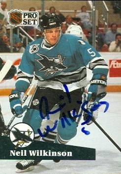 - Autograph Warehouse 60328 Neil Wilkinson Autographed Hockey Card San Jose Sharks 1991 Pro Set No .483