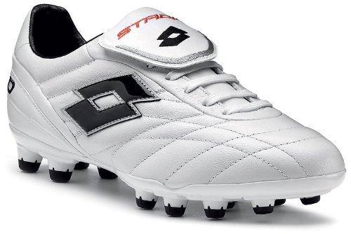 Lotto - Botas de fútbol de cuero para hombre blanco blanco y negro, color blanco