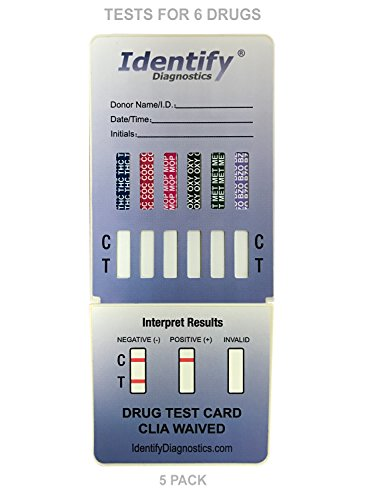 5 Pack Identify Diagnostics 6 Panel Drug Test Dip with Low Opiates Cutoff - Testing Instantly for 6 Different Drugs: THC, COC, MOP, OXY, MET, BZO #ID-CP6-DIP