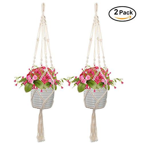 Macrame Plant Hanger Indoor Outdoor Hanging Planter Basket Plant Holder Hanging Planter Stand Flower Pots for Decorations Cotton Rope 4 Legs 41 (Hanging Basket Holder)