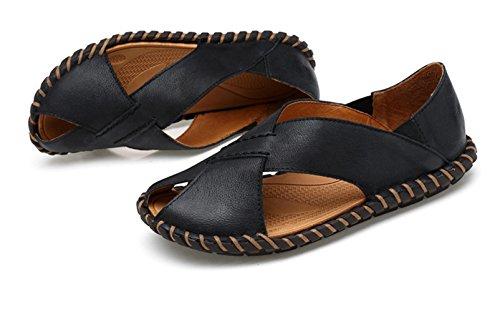 ICEGREY Herren Sandalen Trekking Pantoletten Freizeit Hausschuhe Sandalen Outdoor Sommer Strand Pantolette Schuhe Schwarz 41