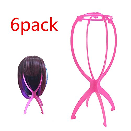 Xingoukeji 6pcs Wig Stand Holder Portable Durable Folding Tall Wig Stands Hairpieces Display Tool, Travel Wig Stands, Pink by xingoukeji (Image #3)