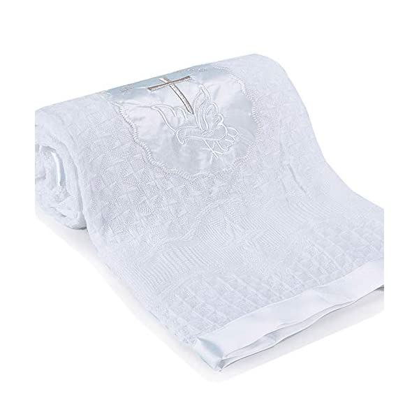 Baby Blanket Newborn Unisex Baptism White Baby Blanket Shawl Knitted Baby Summer Autumn Winter Blanket with Embroidered Cross