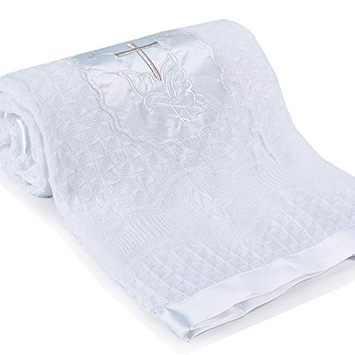 Baby Christening Blanket Newborn Unisex Baptism White Baby Blanket Shawl Knitted Baby Summer Autumn Winter Blanket with Embroidered Cross]()