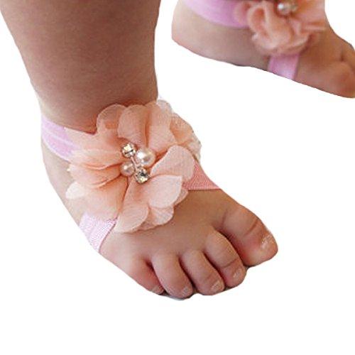 Miugle Baby Girls Rhinestone Flower Barefoot Sandals (Barefoot Sock Sandals Baby)