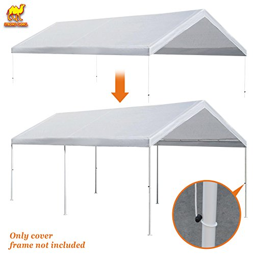 Strong Camel 10'x20' Carport Replacement Canopy Cover for Tent Top Garage Shelter Cover w Ball Bungees (Only cover, Frame is not (10' X 20' Tarp)