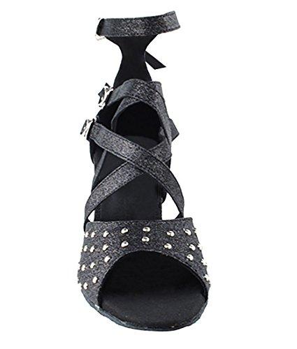 Chaussures De Danse Salsa Tango Latine Très Belle Pour Les Femmes Sera7011 Talon De 3 Pouces + Bundle De Brosse Pliable Noir Stardust