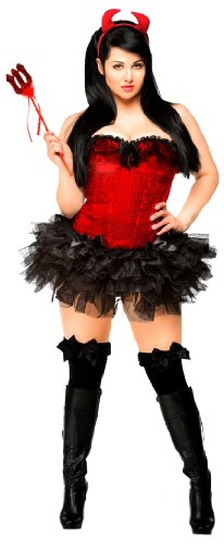 (Daisy Corsets Women's 4 Piece Sexy Sequin Pin-Up Devil Costume, Red,)