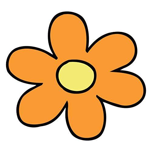 Milk Mug Designs Hippy 60s Flower Power Daisy Orange 5 inch Full Color Vinyl Decal