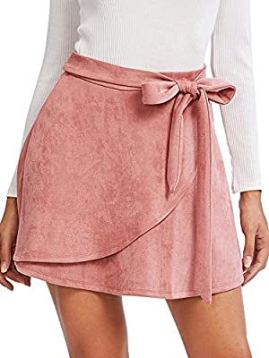 SheIn Women's Casual Faux Suede Side Tie Knot Warp Front A Line Mini Skirt