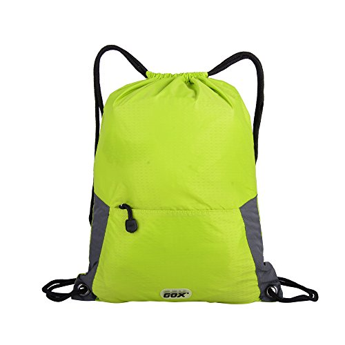 GOX Foldable Drawstring Backpack,Ultra Lightweight GYM Sackpack,Water Repellent Bag For Travel (Green)