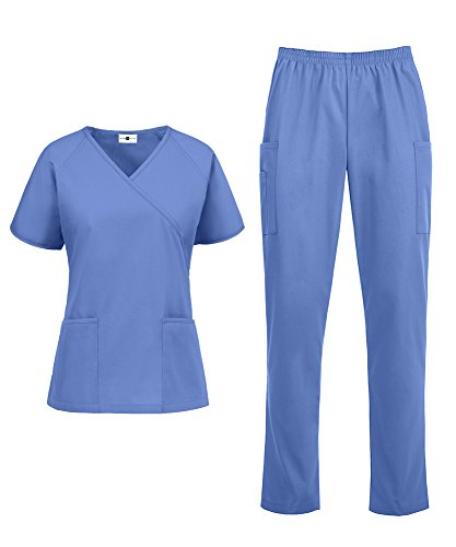 Women's Medical Uniform Scrub Set - Includes Mock Wrap Top and Elastic Pant (XS-3X, 14 Colors) (XXX-Large, Ceil)