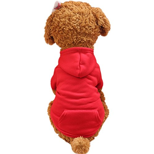 Glumes Basic Cotton Pet Dog Sweatshirt Hoodie, Cold Weather Warm Coat Costumes for Small Dog Medium Dog Or Cat ()