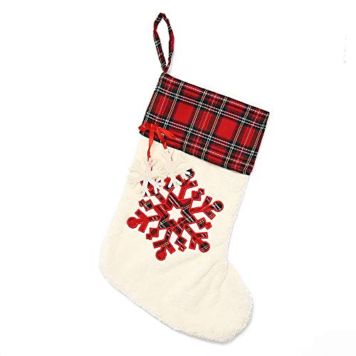LO LORD LO Chirstmas Stockings Plaid Design for Personalize Embroidery with Snowflake and Chirstmas Tree (Red with Snowflake) ()