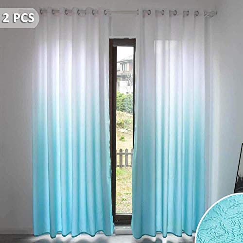 Ombre Room Darkening Window Curtains Set of 2 Panels Thermal Insulated Blackout Grommet Window Treatments 84 Inches Long Turquoise Gradient Linen Look Drapes and Curtains for Kids Bedroom Living Room (Turquoise Curtains Drapes)