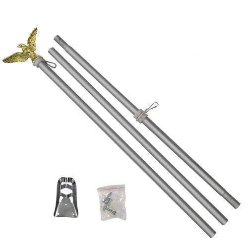Flags Importer POL-ALUMEAGLE6 Flag Pole, 6ft, Silver