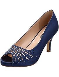 Women Peep Toe Comfort Low Heel Platform Rhinestones...