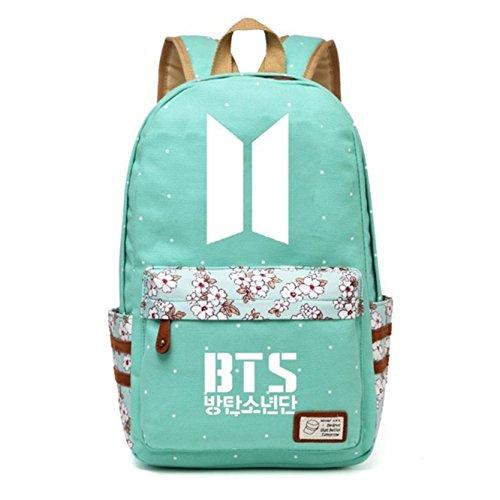 JUSTGOGO Korean Casual Backpack Daypack Laptop Bag College Bag Book Bag School Bag (Green 4)]()