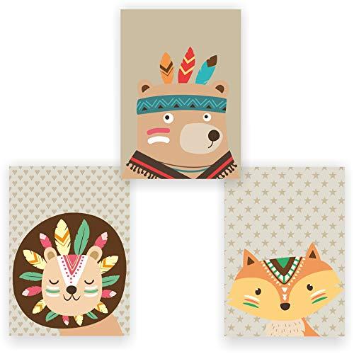 greenluup Juego de 3 Póster De Niño - cuadro de diseño infantil con niña niño pared decoración beige Indianer Beige: Amazon.es: Bebé