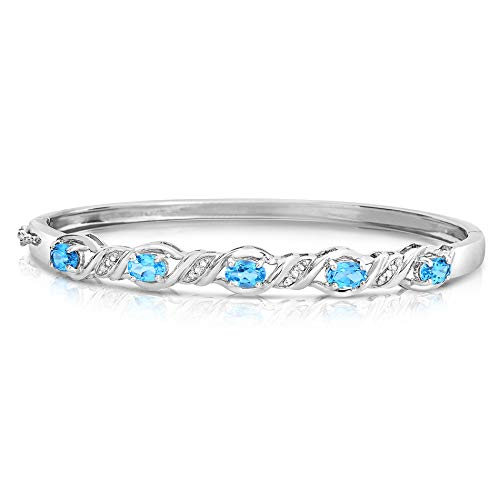NATALIA DRAKE Blowout Sale Blue Collection- Gemstone Diamond Bangle in Sterling Silver (Blue Topaz) Colored Sapphire Diamond Bracelet