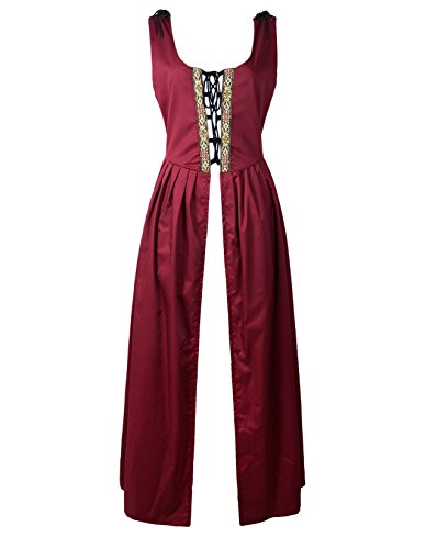 Renaissance Medieval Pirate Peasant Costume Irish Over Dress Fitted Bodice (L, Burgundy)