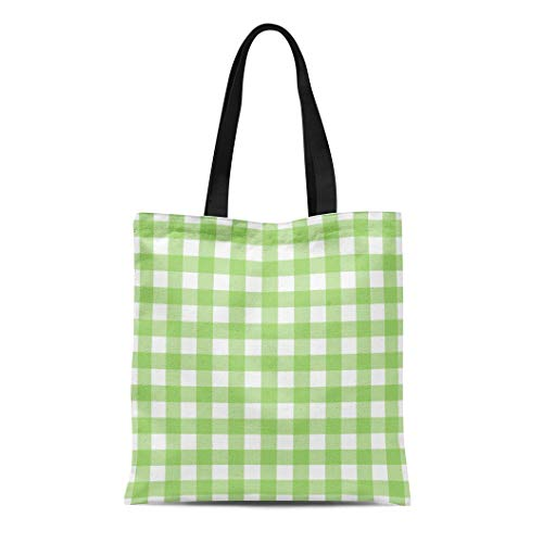 (Semtomn Canvas Tote Bag Shoulder Bags Green Gingham Traditional for Banqueting Roll Placemat Disposable Napkins Women's Handle Shoulder Tote Shopper Handbag)