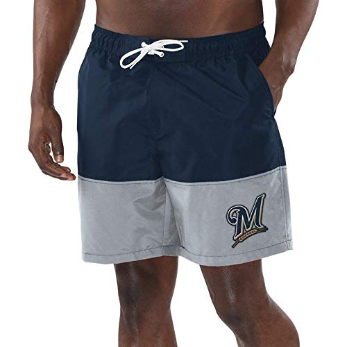 (League Trunks Milwaukee G-III Sports by Carl Banks Anchor Volley Shorts - Navy/Gray (Large))