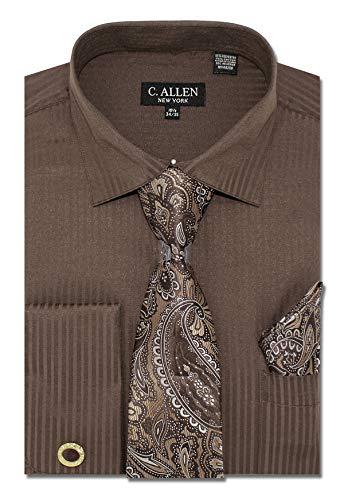 C. Allen Men's Solid Striped Pattern Regular Fit Dress Shirts with Tie Hanky Cufflinks Combo 15.5 Neck 34/35 Brown