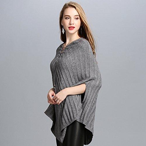 Pulóver WanYang Casual Gris Punto Suéter Invierno Mujer De Color De Suéter Sólido Chal E Creativo Otoño Para ggRpqv7nx
