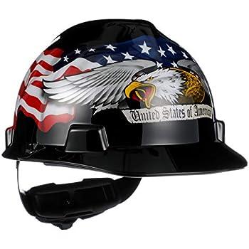 ffaa7fcd86e4f7 MSA 10079479 V-Gard Hard Hat Front Brim with Ratchet Suspension, Standard,  American Eagle