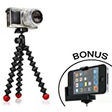 Joby GorillaPod Hybrid Flexible Tripod (Black/Red) for Compact System Cameras and for Action Cameras and a Bonus Universal Smartphone Tripod Mount Adapter works for iPhone 6, HTC One, Galaxy S2, S3, S4, S5, Motorola Droid and Most Smartphones