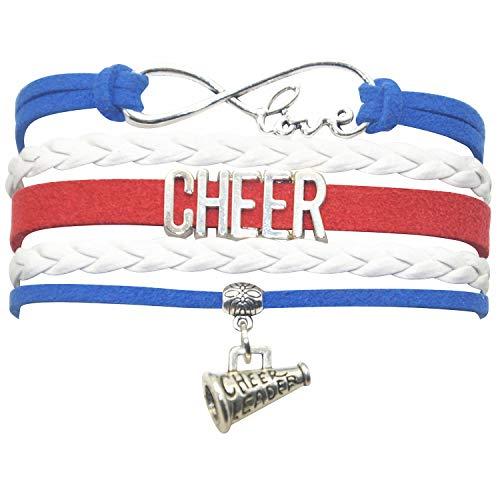 - HHHbeauty Cheer Bracelet Cheerleading Girls Cheer Charm Bracelet Cheer Gifts for Cheerleader, Grils, Women, Boys, Men, Teen Girls, Teens (Royal Blue White and Red)