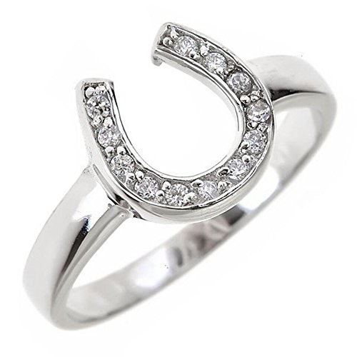 Sterling Forever - Lucky Sterling Silver and Cubic Zirconia Studded Horseshoe Band Ring Size : 7