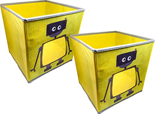 """Price comparison product image SystemBuild Children's Playroom Kids Toys Organizing 11"""" x 11"""" Robot Character Fabric Drawer / Storage Bins; 2 Pack"""