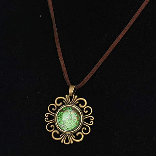 - Garden Glass Pressed Flower Pendant Necklace, Haluoo Vintage Antique Brown Leather Pendant Necklace Handmade Lace Dried Flower Glass Pendant Necklace Floral Ornament Jewelry (Green)