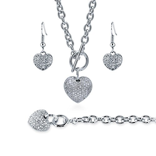 BERRICLE Rhodium Flashed Base Metal Cubic Zirconia CZ Heart Fashion Necklace Earrings and Bracelet Set
