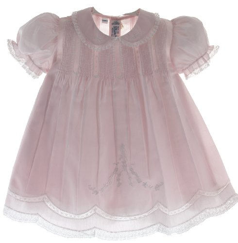 Baby Girls Pink Slip Dress with Lace Trim Feltman Brothers (9M)