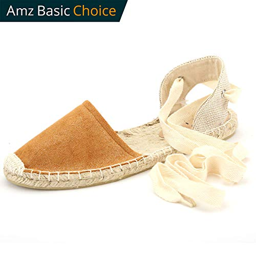 diig Espadrille Sandals for Women, Lace up Sandals Silver Brown Light Gold Navy Tie Ankle Wrap Flat Shoes(Brown, (Womens Brown Espadrille)