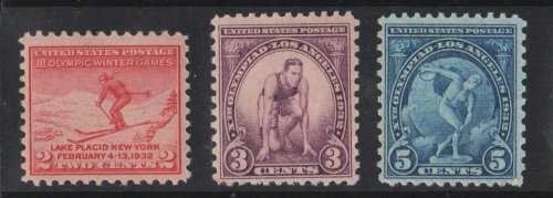 STAMP COLLECTORS SET: The 1932 Olympics Complete set of 3 stamps; Skier at Lake Placid, Runner at Los Angeles, and Discus Thrower (Discobolus of Myron) Scott # 716, 718, 719 U.S. Postage Stamps