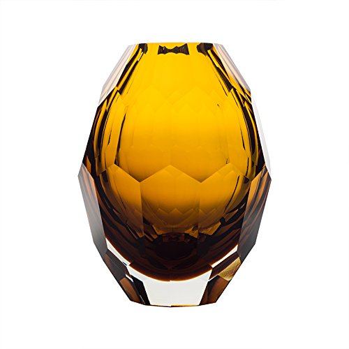 CASAMOTION Home Decor Accent Vase Diamond Shape Solid Color Hand Blown Art Glass Vase, Amber