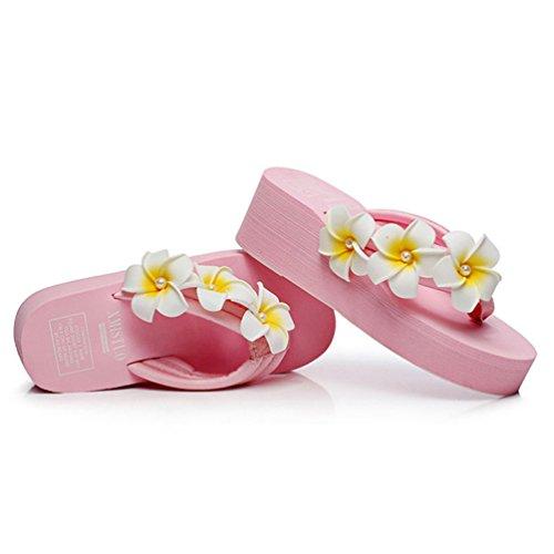 Chaussures Compensées Sandales Tongs de Été Plage Rose Talon Fleurs avec Femmes Femmes Slippers Flip Compensé Flops xTqxfwEIrv