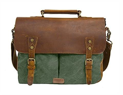 ECOSUSI Unisex Vintage Canvas Leather 14