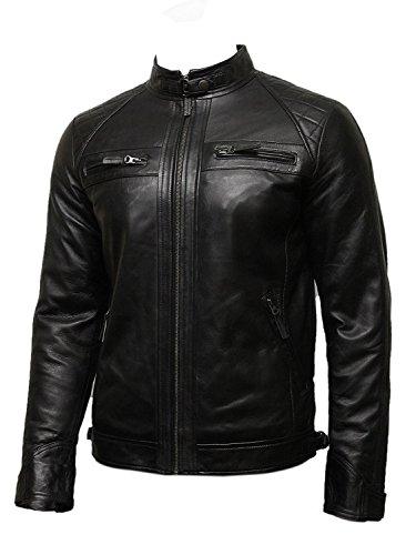 Brandslock Men's Genuine Leather Biker Jacket Motorcycle distressed vintage (M, Black)