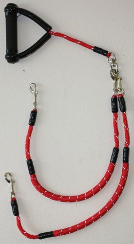 Super Coupler Short, walk multiple dogs tangle-free - 43 inches long - option to disconnect to be used with one dog - built-in swivel that prevents the tangling of leashes - Red