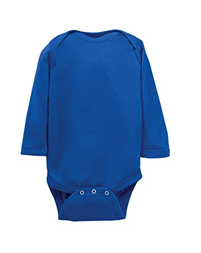 Rabbit Skins 100% Cotton Infant Baby Long Sleeve Bodysuit [Size 12 Months] Royal Blue Long Sleeve Onesie