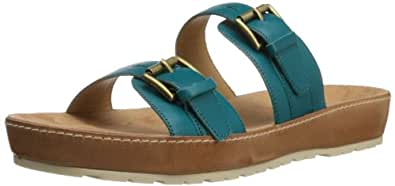 Nine West Women's Ticktock Leather Platform Sandal,Blue Green Leather,6.5 M US