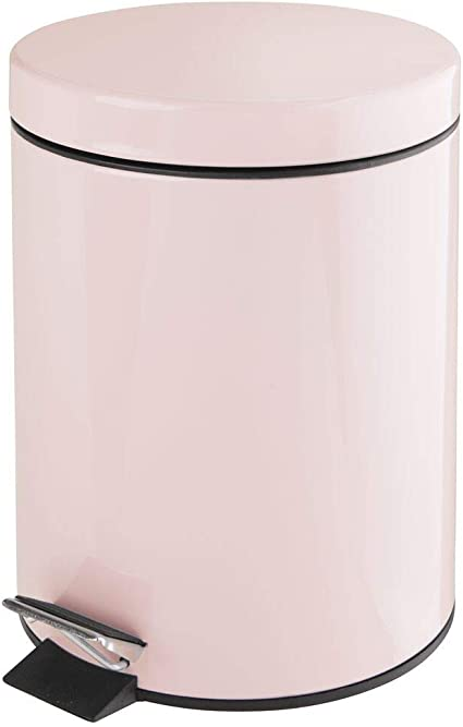 Light Yellow Bedroom Garbage Container Bin Kitchen Powder Room mDesign 1.3 Gallon Round Small Metal Step Trash Can Wastebasket for Bathroom Removable Liner Bucket Office Craft Room