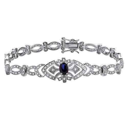 Platinum over Sterling Silver Oval Shaped Created Blue Sapphire and Round Cubic Zirconia, Bracelet (15mm), Box Clasp, 8.25 inches
